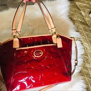 Patent leather purse coach red tan Large
